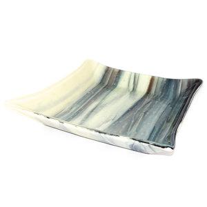 Unieke glazen design schaal van speciaal glas in creme/beige, bruine en grijze tinten.