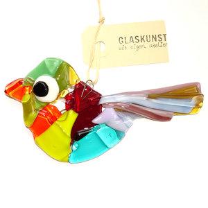 Vogel decoratie van handgemaakt kleurrijk glas. Unieke glazen hanger uit eigen atelier