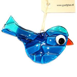 Glazen vogel hanger handgemaakt van prachtig donkerblauw en lichtblauw glas.