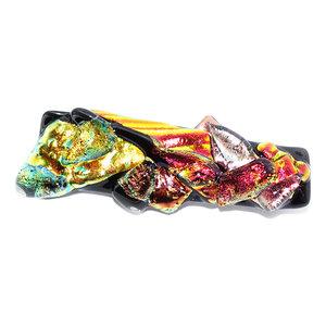 Glazen broche speld van prachtig glas in rood, brons, koper, oranje, goud en gele tinten! Glaskunst speld uit eigen atelier.