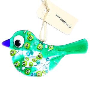 Exclusieve vogel hanger van groen transparant glas met groene Millefiori uit Murano Italië.