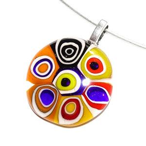 Glashanger met kleurrijke retro cirkels van Murano millefiori glas!