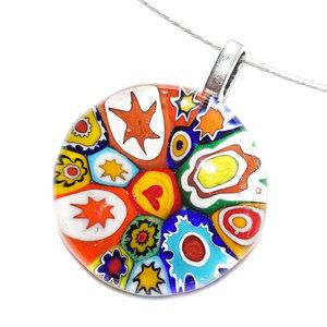 Glazen hanger van prachtig Murano millefiori glas met de mooiste kleuren & figuren!