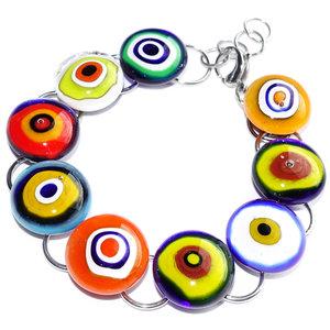 RVS edelstaal armband met gekleurde glaskunst van Murano millefiori cirkels!