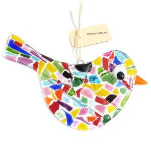 Grote glazen vogel hanger gemaakt van gekleurd glas in mozaïek patroon.