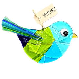 Grote vogel gemaakt van het mooiste blauwe en groene glas!