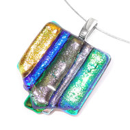 RVS kettinghanger gemaakt van speciaal glas in de kleuren; blauw, groen, goud/geel en zilver.