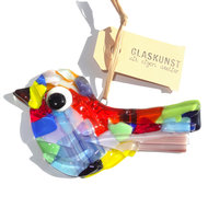 Gekleurde vogel hanger handgemaakt van speciaal glas in allerlei kleuren!
