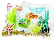 Unieke handgemaakte glazen schaal met vissen, zeester en planten. Glasfusing schaal uit eigen atelier.