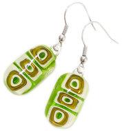 Groene lange oorbellen handgemaakt van prachtig millefiori glas!