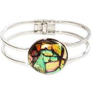Luxe glazen armband van roze, oranje en groen dichroide glas! Handgemaakte armband uit eigen atelier!