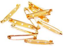 Broche speld in goudkleur, 35 x 6 mm. 10 stuks