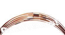 Bruine wissel ketting. Spang van gecoat bruin staaldraad met draai sluiting, 53 cm. lengte