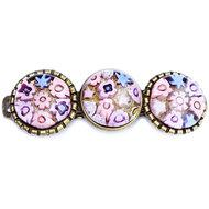 Handgemaakte roze haarknip met roze millefiori glazen cabochons. Glasfusing haarspeld uit eigen atelier.