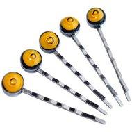 Handgemaakte zwarte haarschuifjes met zwart-gele glazen cabochons. Set van 5 zwarte haarspeldjes.