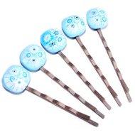 Koperkleurige haarschuifjes met lichtblauwe glazen bloemetjes! Set van 5 haarspeldjes