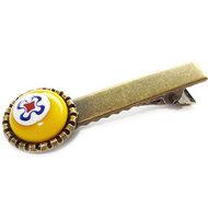 Geel haarknipje. Handgemaakte bronskleurige knip met gele glazen millefiori cabochon!