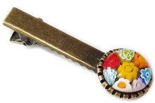 Haarknipje met multicolor millefiori bloemetjes!