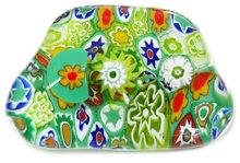 Handgemaakte groene glazen broche van millefiori glas!