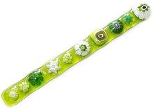 Groen roerstaafje handgemaakt van diverse soorten groen millefiori glas!