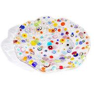 Ronde heldere glazen schaal met kleurrijke millefiori bloemen in het glas.