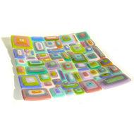 Vierkante glazen schaal in retro stijl met roze, blauw, groen, lila en oranje kleuren.
