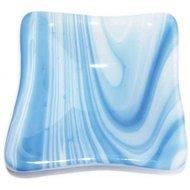 Handgemaakt lichtblauw schaaltje van speciaal glas. Klein vierkant schaaltje.