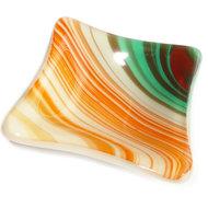 Oranje-wit-turquoise glazen schaaltje, theetipje van speciaal glas gemaakt.