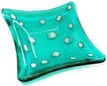 Handgemaakt turquoise-zeegroen glazen schaaltje. Unieke theetipje van speciaal glas