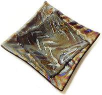 Handgemaakte glazen schaaltje van goud-zilver-paars metallic glas!