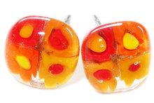 Handgemaakte geel-oranje-rode bloemen oorknopjes> Chirurgisch staal!