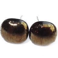 Handgemaakte oorknopjes van speciaal goud metallic glas! RVS hypo-allergene oorstekers.