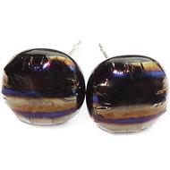 Exclusieve metallic oorstekers van iriserend glas met bruine,grijze,goud, paars en blauw tinten