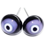 Handgemaakte zwart met lila glazen oorstekers. Oorknopjes van glas met RVS/chirurgisch staal afwerking.