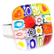 Multicolor glazen ring handgemaakt van de mooiste gekleurde millefiori bloemen! Vingerring met een cabochon van kleurrijk glas