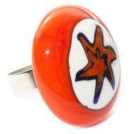 Oranje glazen ring van speciaal millefiori glas gemaakt! Handgemaakte verstelbare glazen ring.