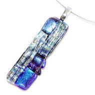 Langwerpige blauw met zilveren glashanger met edelstaal/rvs afwerking.