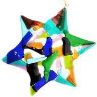 Unieke glasfusing kerstster! Gemaakt van geel,bruin,blauw,turquoise,groen en zwart glas!