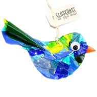 Grote blauwe vogel gemaakt van het mooiste blauw, groen en gele glas!