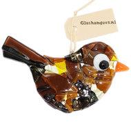 Bruine glazen vogel. Vogeltje van glas voor in de tuin en in huis!
