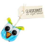 Kleine glazen uil van blauw en geel glas. Exclusieve uil glashanger van het mooiste glas.