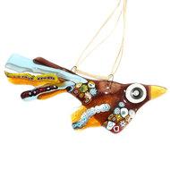 Bruin-geel-blauwe vogel van millefiori glas. Unieke glas hanger vogel voor huis en tuin!