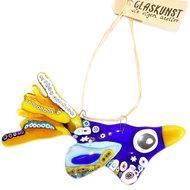 Blauw-gele glazen vogel van millefiori glas. Unieke raamhanger of suncatcher voor huis en tuin!
