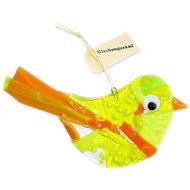 Grote geel met oranje glazen vogel. Unieke decoratie vogel glashanger voor in de tuin.