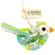 Unieke glazen vogel hanger met prachtig reactief glas in de kleuren groen, blauw en ivoor.
