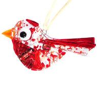 Rode glazen vogel hanger. Glazen decoratie hanger voor huis en tuin van rood glas!