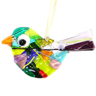 Gekleurde vogel hanger van speciaal glas. Multicolor glasfusing vogel decoratie voor huis en tuin!
