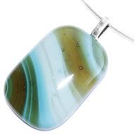 Handgemaakte bruin-groen-wit gestreepte glashanger van speciaal glas!