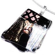 Luxe glashanger van zwart, zilver, koper en brons glas.