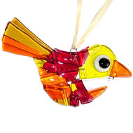 Prachtige rood met oranje en gele vogelhanger van glas.